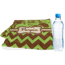 Green & Brown Toile & Chevron Sports Towel (Personalized)