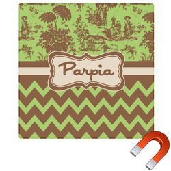 Green & Brown Toile & Chevron Square Car Magnet (Personalized)