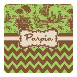 Green & Brown Toile & Chevron Square Decal - Custom Size (Personalized)