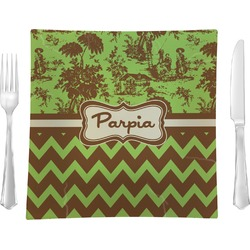 """Green & Brown Toile & Chevron 9.5"""" Glass Square Lunch / Dinner Plate- Single or Set of 4 (Personalized)"""