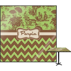 Green & Brown Toile & Chevron Square Table Top (Personalized)