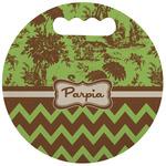 Green & Brown Toile & Chevron Stadium Cushion (Round) (Personalized)