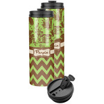Green & Brown Toile & Chevron Stainless Steel Skinny Tumbler (Personalized)