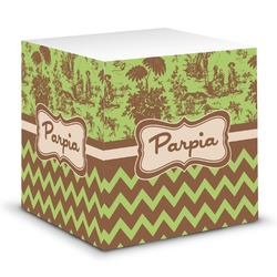 Green & Brown Toile & Chevron Sticky Note Cube (Personalized)