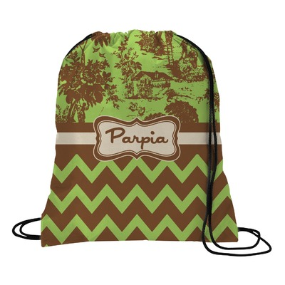 Green & Brown Toile & Chevron Drawstring Backpack (Personalized)