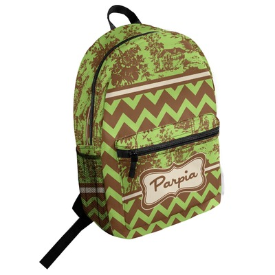 Green & Brown Toile & Chevron Student Backpack (Personalized)