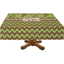 Green & Brown Toile & Chevron Rectangle Tablecloth (Personalized)