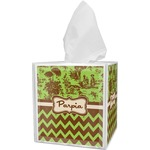 Green & Brown Toile & Chevron Tissue Box Cover (Personalized)