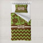 Green & Brown Toile & Chevron Toddler Bedding w/ Name or Text