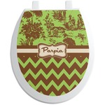 Green & Brown Toile & Chevron Toilet Seat Decal (Personalized)