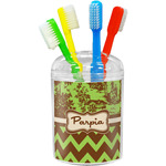 Green & Brown Toile & Chevron Toothbrush Holder (Personalized)