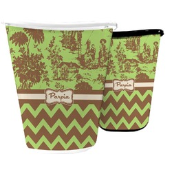 Green & Brown Toile & Chevron Waste Basket (Personalized)
