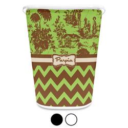 Green & Brown Toile & Chevron Waste Basket (Personalized)
