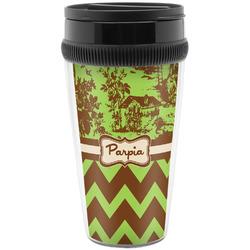 Green & Brown Toile & Chevron Travel Mugs (Personalized)