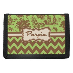 Green & Brown Toile & Chevron Trifold Wallet (Personalized)