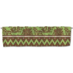 Green & Brown Toile & Chevron Valance (Personalized)