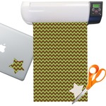 Green & Brown Toile & Chevron Sticker Vinyl Sheet (Permanent)