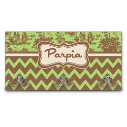 Green & Brown Toile & Chevron Wall Mounted Coat Rack (Personalized)