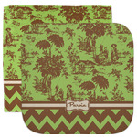Green & Brown Toile & Chevron Facecloth / Wash Cloth (Personalized)
