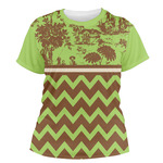 Green & Brown Toile & Chevron Women's Crew T-Shirt (Personalized)