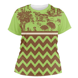 Green & Brown Toile & Chevron Women's Crew T-Shirt (Personalized)