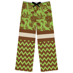 Green & Brown Toile & Chevron Womens Pajama Pants (Personalized)