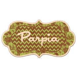 Green & Brown Toile & Chevron Genuine Wood Sticker (Personalized)