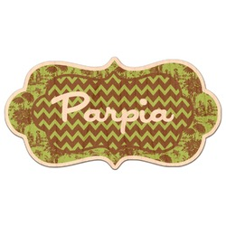 Green & Brown Toile & Chevron Genuine Wood Sticker (Personalized)