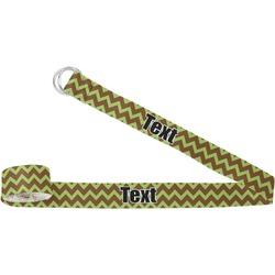 Green & Brown Toile & Chevron Yoga Strap (Personalized)