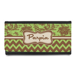 Green & Brown Toile & Chevron Leatherette Ladies Wallet (Personalized)