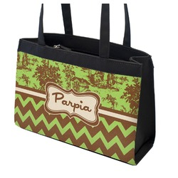 Green & Brown Toile & Chevron Zippered Everyday Tote (Personalized)