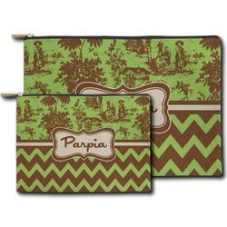 Green & Brown Toile & Chevron Zipper Pouch (Personalized)