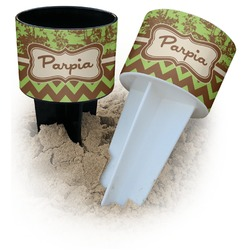 Green & Brown Toile & Chevron Beach Spiker Drink Holder (Personalized)