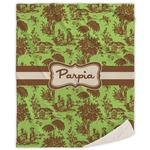 Green & Brown Toile Sherpa Throw Blanket (Personalized)