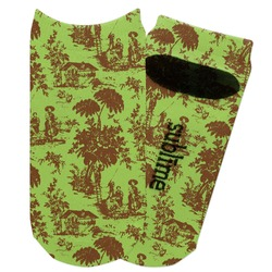 Green & Brown Toile Adult Ankle Socks (Personalized)