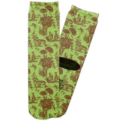 Green & Brown Toile Adult Crew Socks (Personalized)