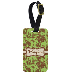 Green & Brown Toile Aluminum Luggage Tag (Personalized)