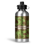 Green & Brown Toile Water Bottle - Aluminum - 20 oz (Personalized)