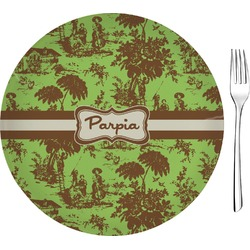 """Green & Brown Toile 8"""" Glass Appetizer / Dessert Plates - Single or Set (Personalized)"""