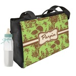 Green & Brown Toile Diaper Bag w/ Name or Text