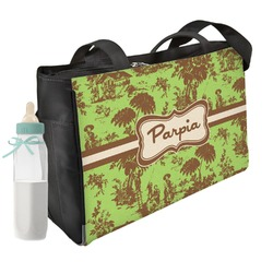 Green & Brown Toile Diaper Bag (Personalized)