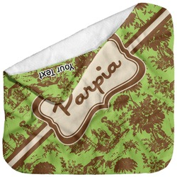 Green & Brown Toile Baby Hooded Towel (Personalized)