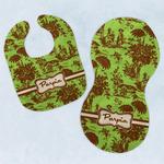 Green & Brown Toile Baby Bib & Burp Set w/ Name or Text