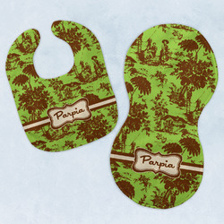Green & Brown Toile Baby Bib & Burp Set w/ Name or Text