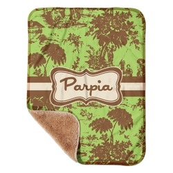 """Green & Brown Toile Sherpa Baby Blanket 30"""" x 40"""" (Personalized)"""