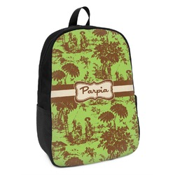 Green & Brown Toile Kids Backpack (Personalized)