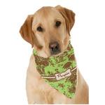 Green & Brown Toile Dog Bandana Scarf w/ Name or Text