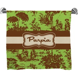 Green & Brown Toile Full Print Bath Towel (Personalized)
