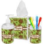 Green & Brown Toile Acrylic Bathroom Accessories Set w/ Name or Text