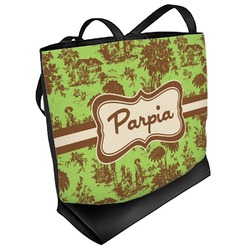 Green & Brown Toile Beach Tote Bag (Personalized)